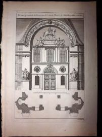 Granet 1736 Antique Architectural Print. Decoration d'Entrée. Invalides Paris 2